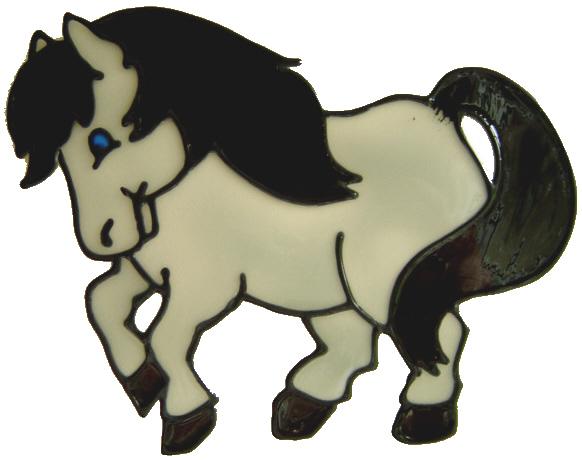 665 - Playful Pony - Handmade peelable static window cling decoration