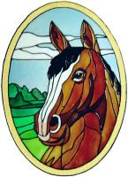 645 - Horse Oval - Handmade peelable static window cling decoration
