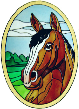 645 - Horse Oval - Handmade peelable static window cling decoration