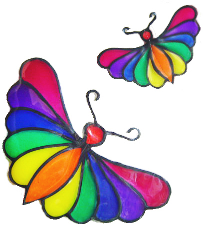 1119 - Stylised Butterflies handmade peelable window cling decoration