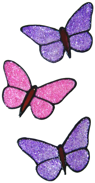 912 - Set of Three Small Butterflies handmade peelable window cling decorat