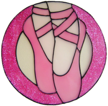 965 - Ballet Shoes 2 Handmade peelable stained glass window cling