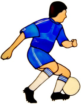 230 - Footballer made in your team colours - handmade peelable window cling decoration