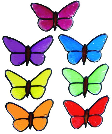 901 - Set of Small Butterflies handmade peelable window cling decoration
