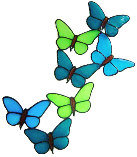 858 - Butterfly Spray handmade peelable window cling decoration
