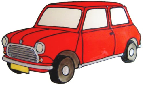 675 - Classic Mini - Handmade peelable static window cling decoration