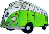 697 - Campervan - Handmade peelable static window cling decoration
