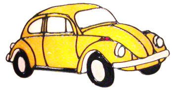 422 - VW Beetle handmade peelable window cling decoration