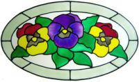 791 - Pansies Frame - Handmade peelable window cling decoration