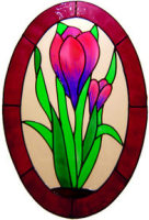 792 - Crocus Oval - Handmade peelable window cling decoration