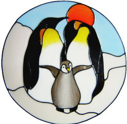 781 - Penguin Family handmade peelable window cling decoration