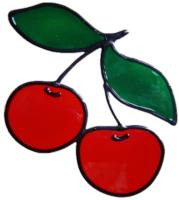 236 - Cherries handmade peelable window cling decoration