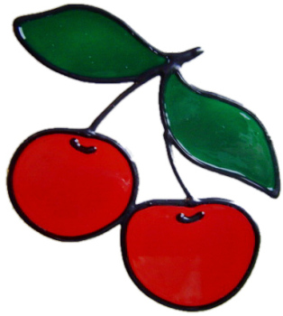 236 - Cherries handmade peelable window cling decoration