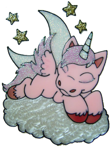 594 - Unicorn/Pegasus on Cloud - Handmade peelable static window cling deco