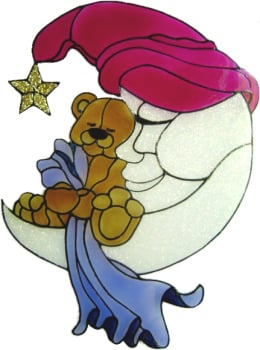 586 - Teddy on Moon - Handmade peelable static window cling decoration