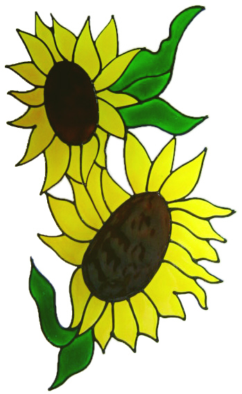 458 - Large Double Sunflower handmade peelable window cling decoration