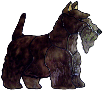 558 - Scottish Terrier Dog - Handmade peelable static window cling decoration