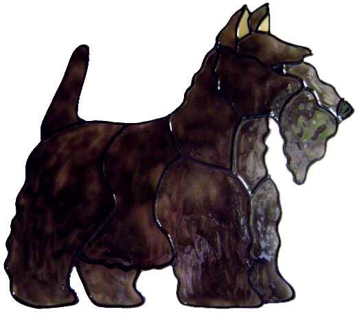 558 - Scottish Terrier Dog - Handmade peelable static window cling decorati