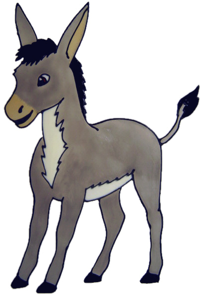 555 - Donkey - Handmade peelable static window cling decoration