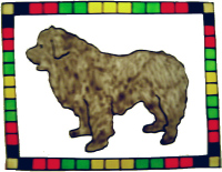 655 - Newfie Dog Frame - Handmade peelable static window cling decoration