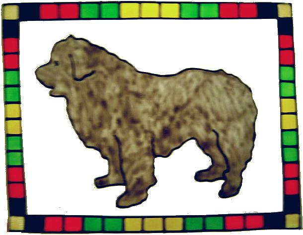 655 - Newfie Dog Frame - Handmade peelable static window cling decoration