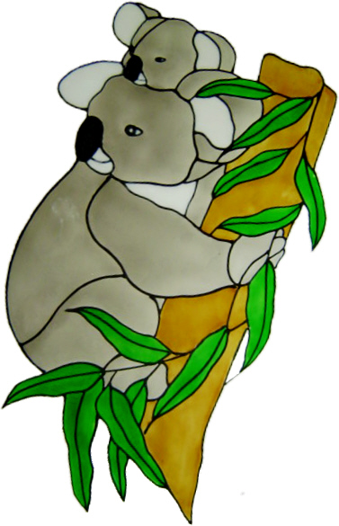 707 - Koala & Baby - Handmade peelable static window cling decoration