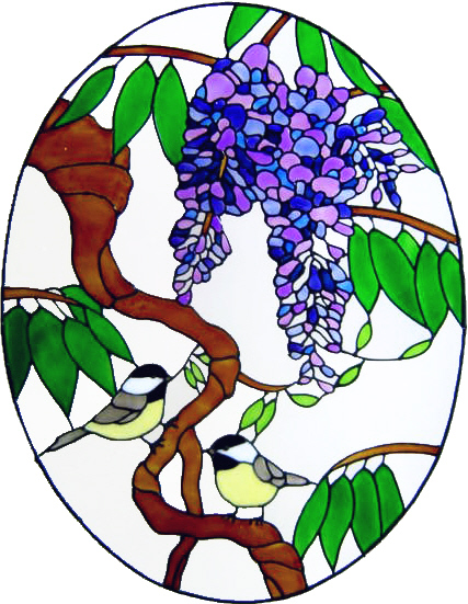 894 - Wisteria and Birds handmade peelable window cling decoration