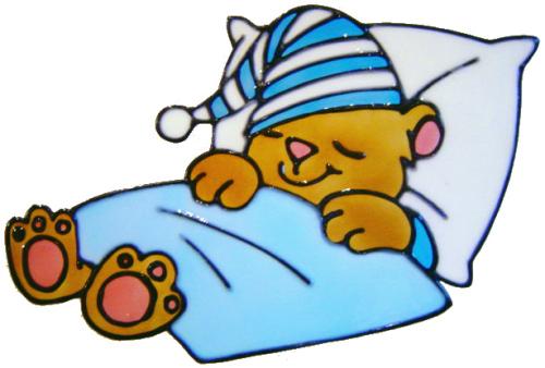 742 - Snuggle Bear - Handmade peelable window cling decoration
