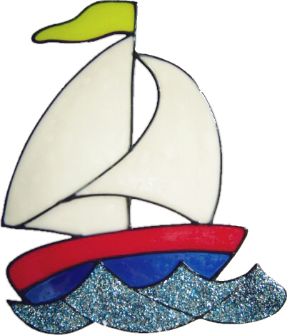 438 - Sailboat handmade peelable window cling decoration