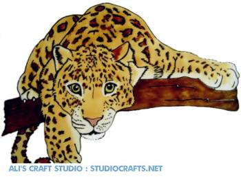 1196 - Leopard Handmade peelable static window cling decoration