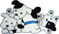 347 - Playful Puppies handmade dogs peelable window cling decoration