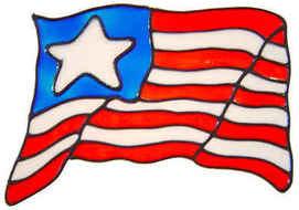 444 - US Flag handmade peelable window cling decoration