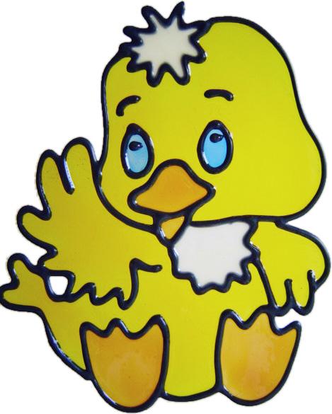 35 - Yellow Chick handmade peelable window cling decoration