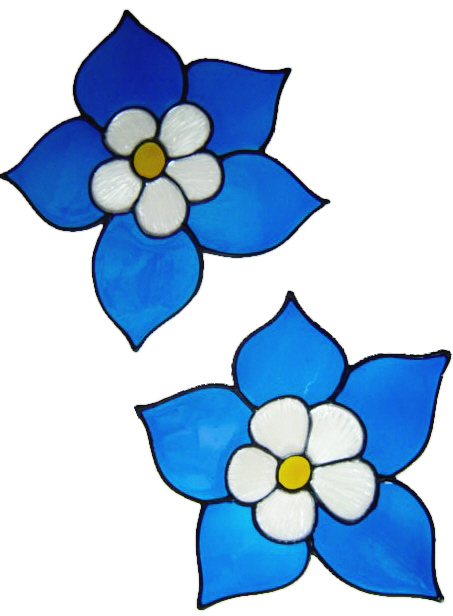234 - Double Columbine set of 2 handmade peelable window cling decorations