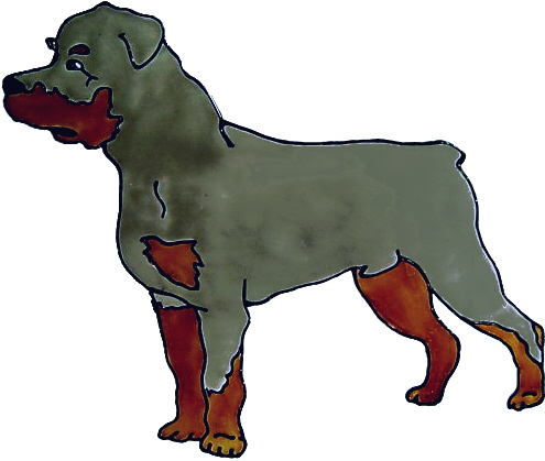 635 - Rottweiler Dog - Handmade peelable static window cling decoration