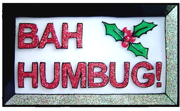 1024 bah humbug handmade window cling christmas decoration