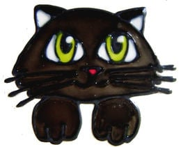 754 - Cute Kitty - Handmade peelable window cling decoration