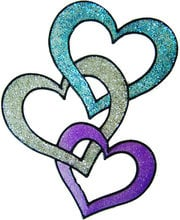 584 - Linking Hearts - Handmade peelable static window cling decoration