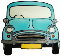 800 - Morris Minor - Handmade peelable window cling decoration