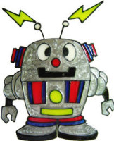802 - Funky Robot - Handmade peelable window cling decoration