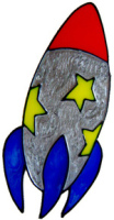810 - Rocket Ship - Handmade peelable window cling decoration
