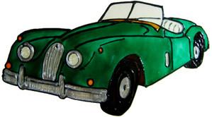 816 - Classic Car - Handmade peelable window cling decoration