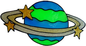 811 - Planet - Handmade peelable window cling decoration