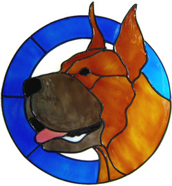 820 - Great Dane in Frame handmade peelable window cling decoration