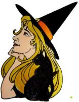 826 - Pretty Witch & Black Cat handmade peelable window cling decoration