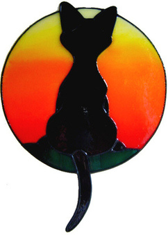595 - Daydreaming Cat - Sunset - Handmade peelable static window cling deco