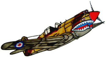 835 - Curtiss Tomahawk WWII handmade peelable window cling decoration