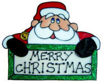 846 - Merry Christmas Santa handmade peelable window cling decoration