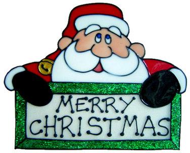 846 - Merry Christmas Santa handmade peelable window cling decoration