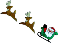 24 - Santa with Reindeers handmade peelable window cling decoration